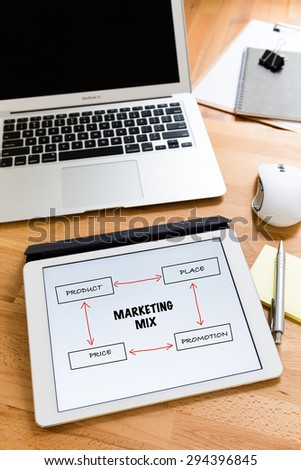 Business working desk with tablet showing marketing mix concept - stock photo
