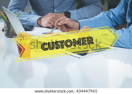 BUSINESS WORKING OFFICE Customer TEAMWORK BRAINSTORMING CONCEPT - stock photo