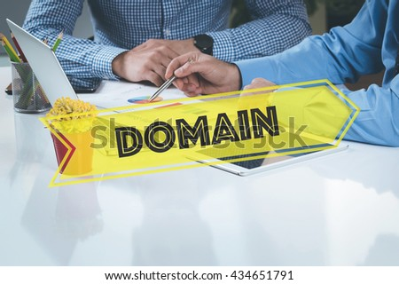 BUSINESS WORKING OFFICE Domain TEAMWORK BRAINSTORMING TECHNOLOGY CONCEPT - stock photo