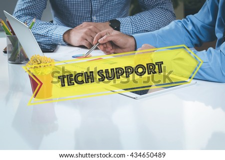 BUSINESS WORKING OFFICE Tech Support TEAMWORK BRAINSTORMING TECHNOLOGY CONCEPT - stock photo