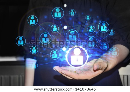 business working with new modern computer - stock photo