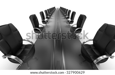 Business workplace, boardroom white interior  - stock photo