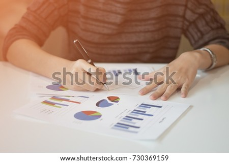 business write graph with blurry background