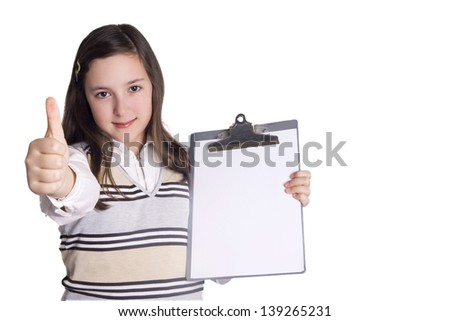 Business young girl with notepad showing OK sign Isolated on white background - stock photo
