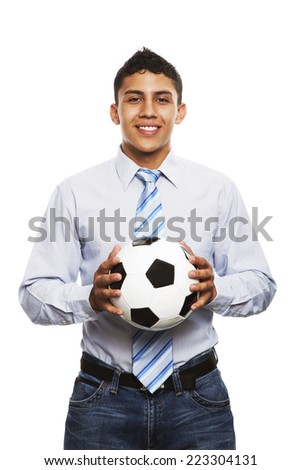 Business young man holding a soccer ball isolated in white background - stock photo