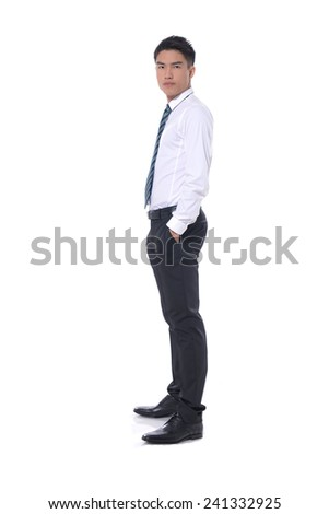 Business young man of Asian, full length portrait isolated on white background. - stock photo