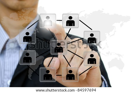 business young pushing people communication social network on  whiteboard. - stock photo