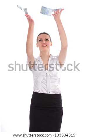 Business young woman catches money from above - isolated over a white background - stock photo