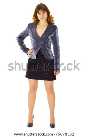 Business young woman - front view isolated on white background