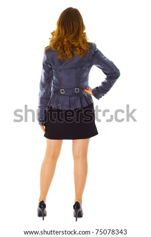 Business young woman - rear view isolated on white background