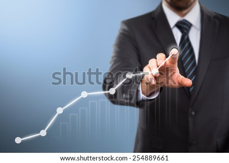 businessman activate business success touch screen concept - stock photo