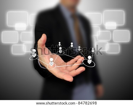 businessman add people social network - stock photo