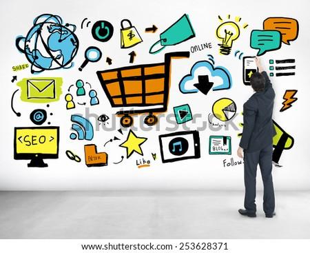 Businessman Advertising Online Marketing Commerce Idea Concept - stock photo