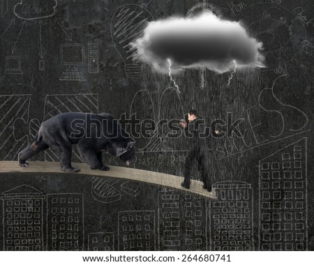 Businessman against black bear balancing on plank with gray cloud raining lightning and doodles wall background - stock photo