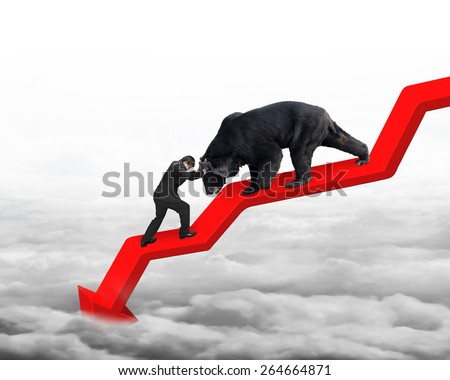 Businessman against black bear on red arrow downward trend line with gray cloudscape background. Fight back bearish market concept. - stock photo