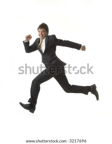 Businessman almost flies in a hurry - stock photo