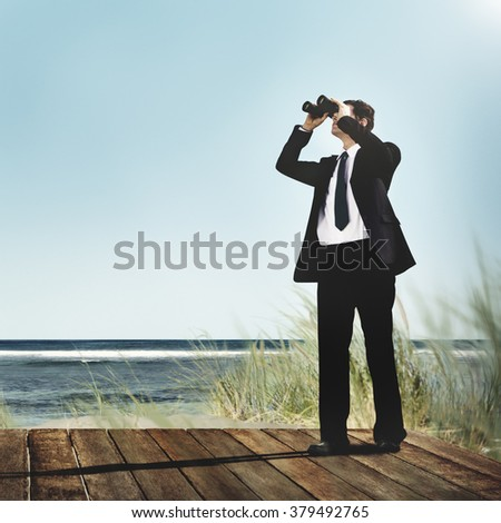 Businessman Alone Looking Explore Searching Concept - stock photo