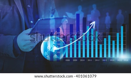 Businessman analysis financial graph,business graph background - stock photo