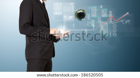 businessman analyze graph with technology on mobile
