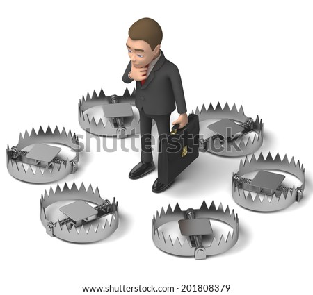 businessman and a lot of traps - stock photo