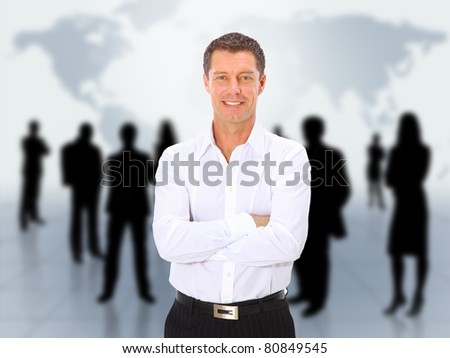 businessman and abstract team - stock photo