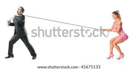 Businessman and an attractive woman pulling a rope isolated on white background - stock photo