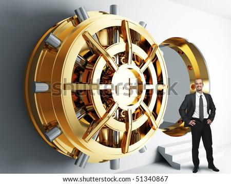 businessman and bank golden vault door 3d - stock photo