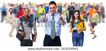 Businessman and Business people group on white background. - stock photo