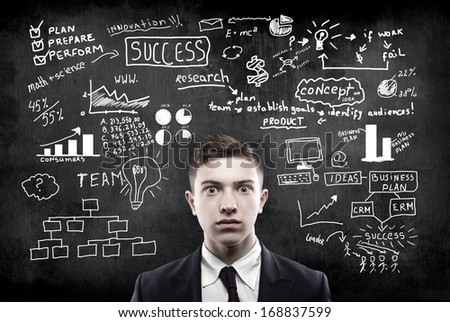 businessman and business strategy on the wall
