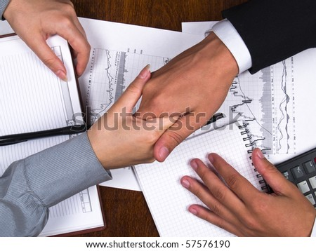 Businessman and business woman sign contract and shaking hands - stock photo