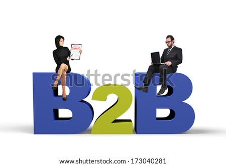 businessman and businesswoman, business to business concept - stock photo