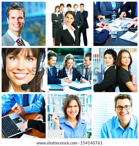 Businessman and businesswoman collage background. Teamwork. - stock photo