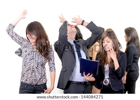Businessman and businesswoman failure concept - stock photo