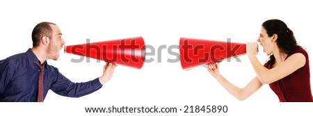 businessman and businesswoman holding a red megaphone conflict