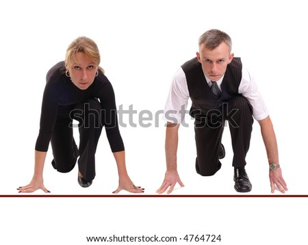 Businessman and businesswoman lined up getting ready for corporate race - rat race concept - stock photo