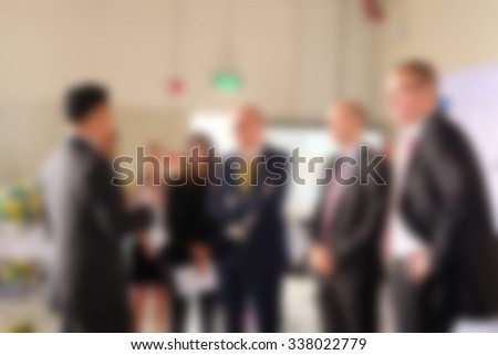 Businessman and businesswoman meeting. blur image - stock photo