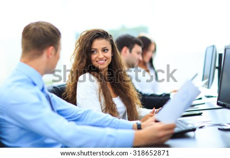 Businessman and businesswoman meeting In modern office - stock photo