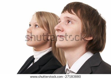 businessman and businesswoman on white background - stock photo