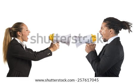 Businessman and businesswoman screaming fight for power