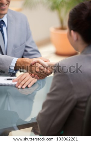 Businessman and Businesswoman shaking hands in an office - stock photo