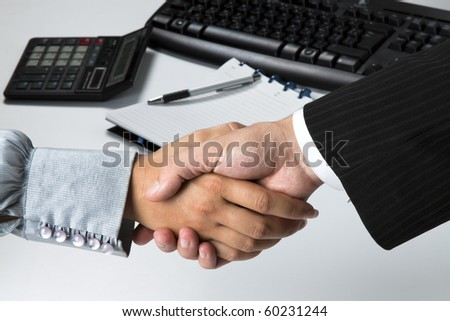Businessman and businesswoman sign contract and shaking hands - stock photo