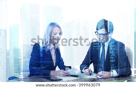Businessman and businesswoman signing documents, Sigapore view. Double exposure. Concept of making deal. - stock photo
