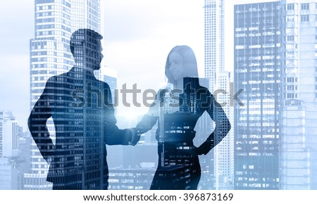 Businessman and businesswoman talking, office view. Double exposure. Concept of communication. - stock photo