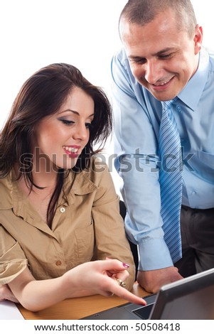 Businessman and businesswoman, team work concept, isolated on white background