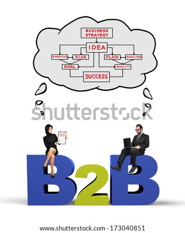 businessman and businesswoman thinking at business to business concept - stock photo