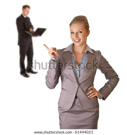 Businessman and businesswoman with laptop isolated on white