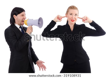 Businessman and businesswoman with megaphone isolated on white - stock photo