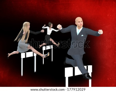 Businessman and businesswomen in a hurdle race  - stock photo