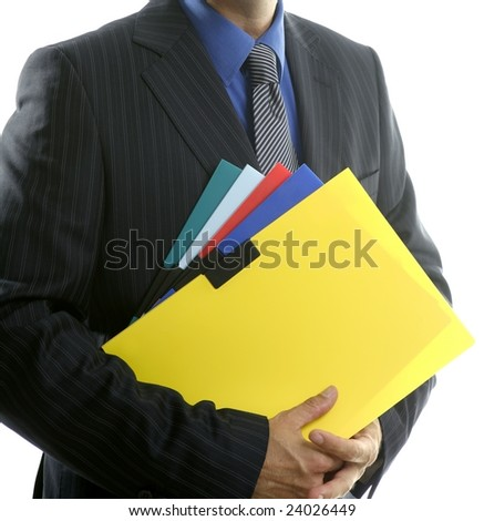 Businessman and color folders over white, yellow, studio with no face