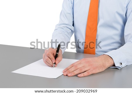 Businessman and contract signing. Isolated on the white background.